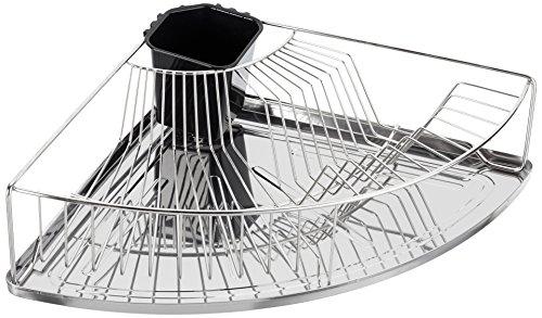 WENKO Corner Dish Rack, Dimensions (W x H x D): 14.76 x 4.13 x 14.76 in, Silver matt