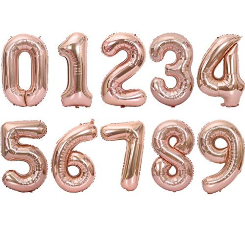 YIANGNB Globo Número 16inch del Papel de Aluminio Globos de Oro Rosa de Plata dígitos Figura del Partido decoración de la Boda del Globo del niño Cumpleaños de Adultos Suppli Decorar