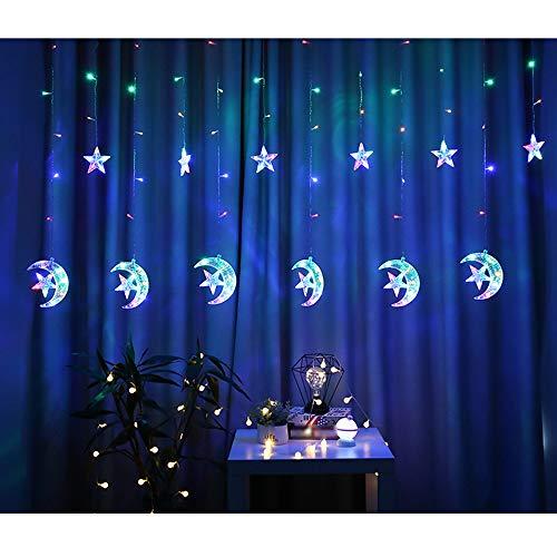 Twinkle Star Moon - Cortina de luz USB para ventana, decoración de fiestas, noche de hadas