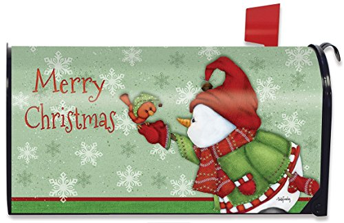 Snowman with Bird on Green Background Merry Christmas Magnetic Mailbox Cover