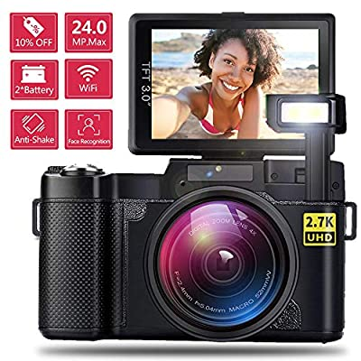 AMKOV WiFi Kids Camera Rechargeable 1080P HD Digital Children Camcorders with 1.77 Inch LCD Screen, 7-Color Filter Effect, Flash and Mic for Girls/Boys Blue… by AMKOV