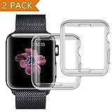 PEMOTech Funda para Apple Watch 42mm Series 2/ Series 3 [2 piezas], Suave TPU Funda [Cobertura Completa] [0.3mm Ultra delgado][HD Claro ][Anti-Arañazos] para Apple Watch Series 2/ Series 3 (42mm)