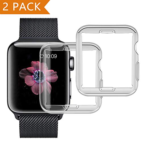 [ Aggiornato a 2 pezzi ] Cover Apple Watch, PEMOTech 38mm Custodia Protettiva Trasparente Ultrasottile di Gel In Silicone TPU 0,3 mm Case per Apple Watch Series 2 / Series 3 (38mm)