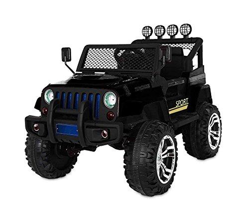 MEDIA WAVE store Macchina elettrica Nera LT863 per Bambini Jeep Sport 4 Ruote motrici sedili in Pelle