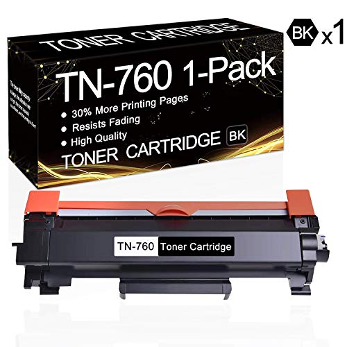 1 Pack TN-760 Black TN760 Toner Compatible Toner Cartridge Replacement for Brother MFC-L2710DW MFC-L2750DW MFC-L2750DWXL HL-L2350DW HL-L2370DW HL-L2370DWXL HL-L2390DW HL-L2395DW DCP-L2550DW Printers.