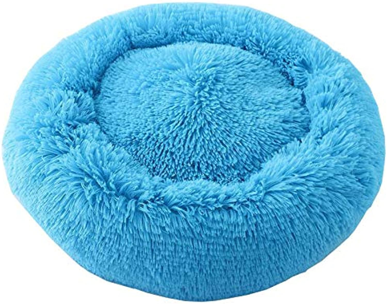 Cookisn Depth Sleep Pet Dog Bed Warm Cama Dog House Mat Sofa Donut Nest Baskets for Dog Wintersmall Kennel Puppy Cat Pet Supplies bluee Outer Diameter 50 cm