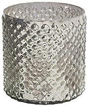 "Serene Spaces Living Antique Silver Hobnail Vase, Medium - Beautiful Mercury Glass in a Vase, 5"" in Diameter & 5"" Tall"