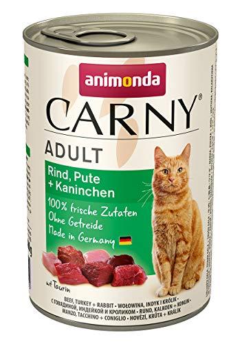 animonda Carny Adult Katzenfutter, Nassfutter für ausgewachsene Katzen, Rind, Pute + Kaninchen, 6 x 400 g