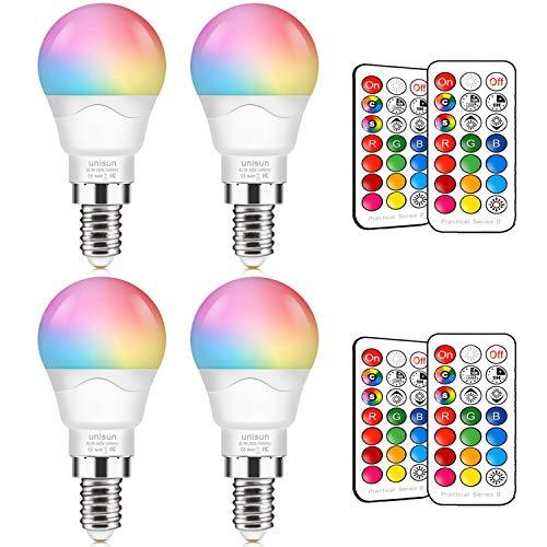 Unisun Farbwechsel-Glühbirne, 40 Watt-Äquivalent, dimmbar 6 W E14 Edison-Schraube RGBW-LED-Glühbirnen Farbwechsel-Leuchten mit Dual-Memory-Timing-Funktion, 4er-Pack [Energieklasse A +]