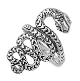 Sterling Silver Women's Tribal Snake Ring Wholesale 925 Band 15mm Size 7