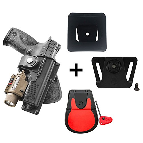 Fobus Rotating roto Paddle Retention Tactical Holster with Safety Strap + Belt Attachment + 6cm Police Wide Duty Belt Adapter for Glock 17, 22, 31