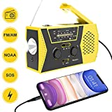 Weather Radio for Emergency Bonpro Emergency Radio with Solar and Crank Charger with Flashlight, Reading Lamp...