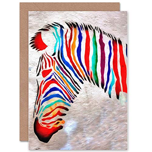Wee Blue Coo CARD GREETING GIFT FOTO schilderij GRAFFITI PSYCHEDELIC ZEBRA Hoofd