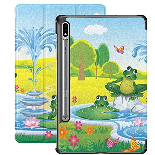 Vector Landscape Cartoon Fountain Frogs Funda Galaxy S7 para Samsung Galaxy Tab S7 / s7 Plus Fundas para Galaxy Tab A Funda Trasera con Soporte Samsung Galaxy S7