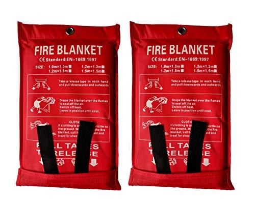 Couverture de protection contre l'incendie contre les incendies - Couverture ignifuge - Couverture de sécurité pour la cuisine, la cheminée, la voiture, le bureau, l'entrepôt - Lot de 2