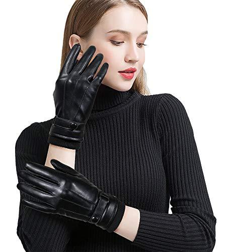 Winter Lederhandschuhe Herren Damen Paux Leader Touch Screen Warme Futter Wasserdicht Winddicht für Outdoor Fahren Motorrad Radfahren, Schwarz