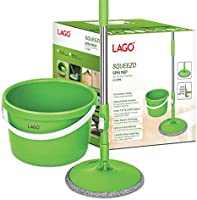LAGO Spin MOP SQUEEZO with 3XL MOPHEAD (24x24 cm) and 3 Microfiber Carpet Pads, 127cms 360 Degree Stainless Steel...
