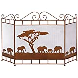 LJFPB Salvachispas Plegable Protección contra chispas Cubierta de Pantalla de Chimenea casera 3 Paneles Hierro Forjado Protector de Malla para Quemador de leña/Fuego Abierto (Color : Brown)
