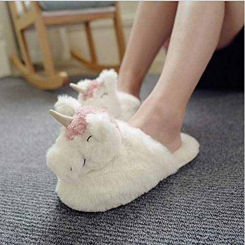 B/H Warm Slippers,Cartoon whale plush,slippers,indoor non-slip cotton shoes-horse_UK7.5-UK8.5,girls slipper socks size 12-3