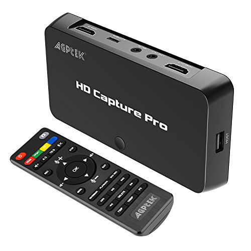 MYPIN 1080P HD Schedule Recording Video CaptureLive Streaming Video Game Capture Compatible with Nintendo Switch PS4 and PS3 Xbox oneN64 BluRay via HDMI Ypbpr Composite Input with Remote