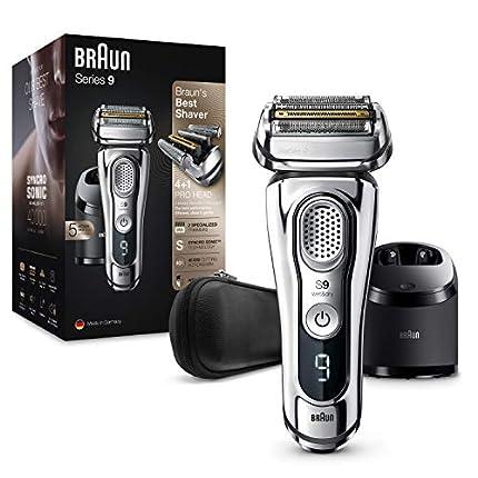 Braun Series 9 9395cc Afeitadora Eléctrica Hombre Última Generación: Afeitadora Barba con Estación Limpieza y Carga Clean&Charge, Funda de Piel, Cromo