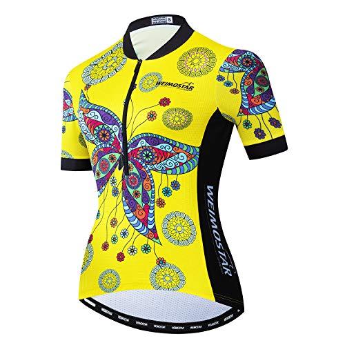 Fahrradtrikot für Damen, halber Reißverschluss, kurze Ärmel, Pro Team MTB Fahrrad Trikot Tops, Damen, Gelber Schmetterling, M(For Your Chest33-35.4