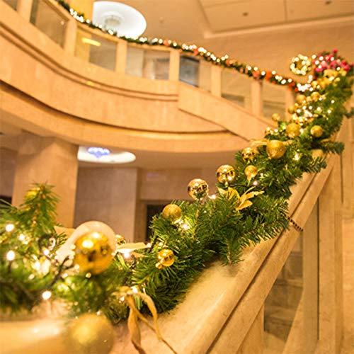 SCCS Weihnachtsgirlande Mit Beleuchtung Außen, Girlande Weihnachten Mit Led Lichterkette Weihnachtskranz Künstlich Tannengirlande Weihnachtsdeko Fenster Haustür Garten Balkon (Gold, 2.7 M)