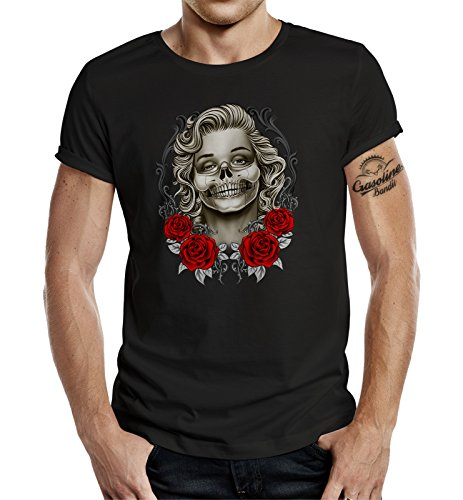 Gasoline Bandit T-Shirt original Biker Racer Rockabilly Hot-Rod Design: Marilyn Skull XXXL
