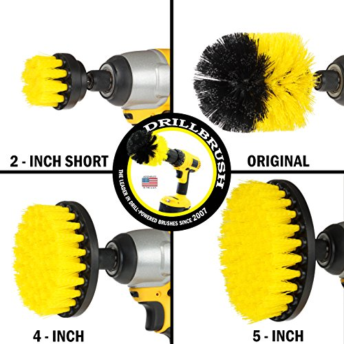 Drillbrush 4 Piece Nylon Power Brush Tile and Grout Bathroom Clea   ning Scrub Brush Kit - Drill Brush Power Scrubber Brush Set - Power Scrubber Drill Brush Kit- Power Brush Drill Attachment