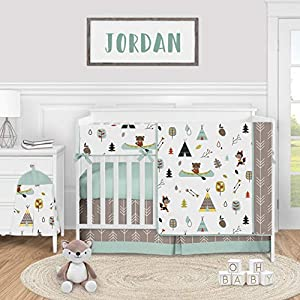 Sweet Jojo Designs Woodland Animal Baby Boy or Girl Nursery Crib Bedding Set – 5 Pieces – Aqua and Yellow Bear Fox Outdoor Adventure