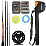Sougayilang Saltwater Freshwater Fly Fishing Rod with Reel Combo Kit (Black Kits with Bag)