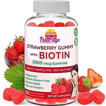 Biotin Gummies 5,000 mcg Serving for Women & Men with Non GMO Gluten Free Natural Strawberry Flavor   Vegan, Vegetarian, Kosher Halal Vitamins for Hair & Nails   100 Gummies
