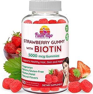 Biotin Gummies 5,000 mcg Serving for Women & Men with Non GMO Gluten Free Natural Strawberry Flavor | Vegan, Vegetarian, K...