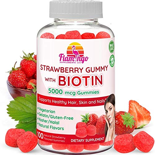 Biotin Gummies 10,000 mcg serving for Women & Men with Non GMO Gluten Free Natural Strawberry Flavor| Vegetarian, Kosher Halal Vitamins for Hair & Nails | 100 Gummies
