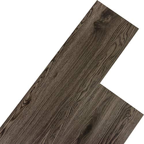 STILISTA Vinyl Laminat Dielen, 15 Dekors wählbar, 5,07m² oder 20m², rutschfest, wasserfest, schwer entflammbar - 20m² Eiche dunkelgrau