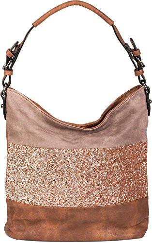 styleBREAKER edle 2-farbige Hobo Bag Handtasche mit Pailletten Streifen, Shopper, Schultertasche, Tasche, Damen 02012181, Farbe:Braun/Taupe