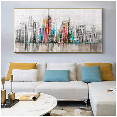 """Pintura en lienzo HD Print Abstract City Skyline Poster and Prints Art Picture Mural Nordic Modern Home Decoration 23.6""""x47.2"""" (60x120cm) Sin marco"""