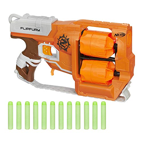 Nerf Zombie Strike FlipFury Toy Blaster with 2 Flipping Drums and 12 Official Nerf Zombie Strike Elite Darts – For Kids, Teens, Adults