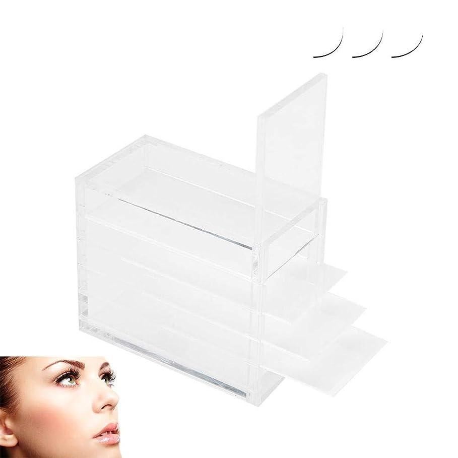 チーター疎外する参加者ZJchao プラスチックまつげの収納ボックス、5層の化粧オーガナイザー移植まつげ接着剤パレットホルダー