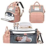 ANDICEQY 3 in 1 Baby Bag Backpack with Changing Pad, Baby Diaper Bag Portable Bed Multi-FunctionalLarge Capacity Baby Bag Folding Bassinet Crib with Changing Station, USB Charging Port (Pink Grey)