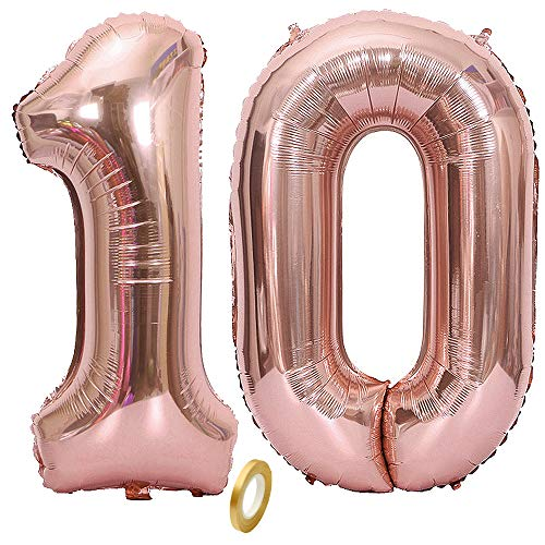 Jurxy Geburtstag Folienballon Helium Folie Luftballons Roségold Anzahl Luftballons Zahl für Geburtstag Jubiläum 40 Zoll - Roségold 10