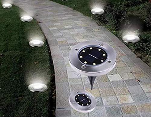 Solar Powered Floor Path LED Light, Solar Ground Lights Outdoor Luci Solari Giardino Lampade Impermeabili Luce Faretti Esterno Solar Disk Waterproof Lights Giardino Cortile Paesaggio Strade