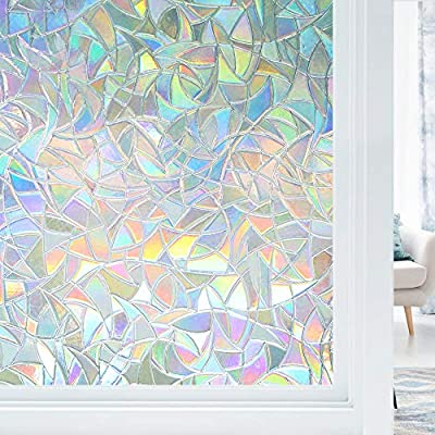 """Haton Window Privacy Film, Non-Adhesive Static Window Cling, 3D Decorative Rainbow Window Decals, Removable Window Glass Vinyl, Anti-UV Window Sticker Cover Heat Control for Home Office, 35.4""""x78.7"""""""