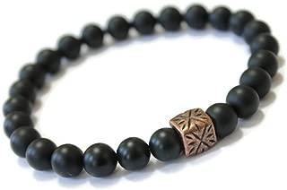 Unisex Black Onyx Gemstone Beaded Wellness Bracelet, Antique Copper, Positive Energy, holistic well being jewelry, crystal energy, minimalist, stylish unisex stone jewelry
