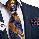 DJLHN Herren Krawatte Blau Gold Neuheit Seide Hochzeit Krawatte Herren Krawatte Einstecktuch...