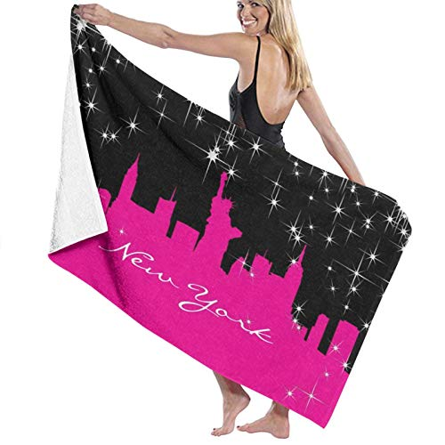 Alfombrillas de goma para interior con diseño de Nueva York, color rosa y negro