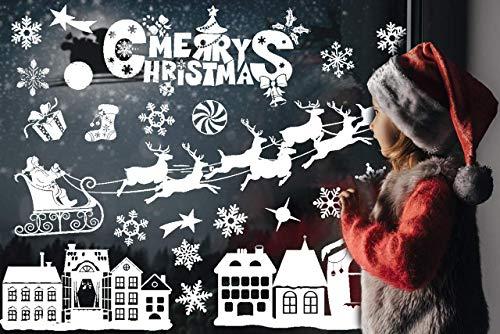 Cayenne Vetrofanie Natalizie, Adesivo Fiocco Di Neve Rimovibile Adesivi Finestre Natale Bianco Alce Sticker Natale Finestra Fai Da Te Vetrofanie Natalizie Per Negozi