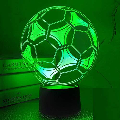 3D LED lámparas Fútbol ilusion optica luz de noche 7 colores Contacto Arte Escultura luces con cables USB Lampara Decoracion Dormitorio escritorio mesa para niños adultos