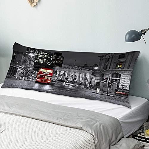 Personalizado Funda de Almohada Larga,Impresión de Reino Unido en Escala de Grises de Londres,Funda de Almohada para el Cuerpo con Cremallera Cierre Decor del Hogar Sofá para Dormitorio,54' x 20'