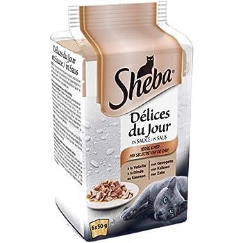 Sheba Délices du Jour – Nourriture humide pour chat adulte - sélection Terre et Mer en sauce – Sachets fraîcheur 72 x 50g